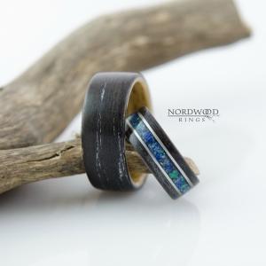 Dąb czarny. Zdobienie - stal i mix malachitu i lapisu lazuli
