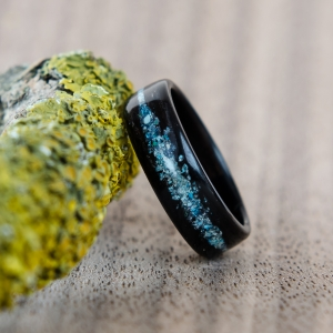 Galaktyka - Droga Mleczna. Heban, turkus, lapis lazuli, holwit, malachit. *Projekt autorski!